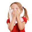 Leinwanddruck Bild - kleines blondes Kind ist erkältet