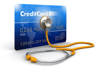 stethoscope and Credit Card (clipping path included)