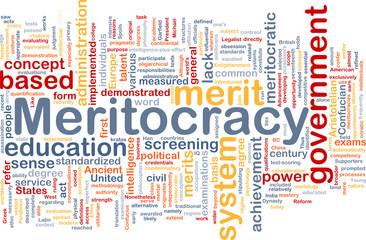 Meritocracy background wordcloud concept illustration