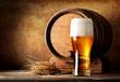 Leinwanddruck Bild - Wooden barrel and beer