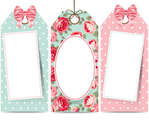 Sale tags with bows and roses
