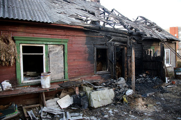 conflagration. Elements of the burned  house