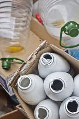 bottles of plastic and cans to recycle