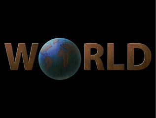 illustration inscription world, the planet earth