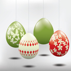 Easter eggs, handing from a string