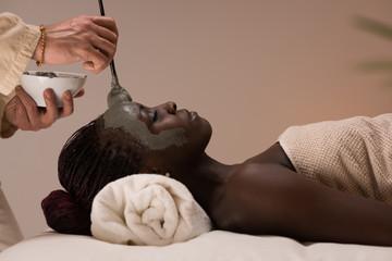 Professional beautician applying mud mask