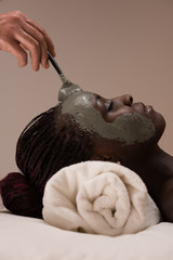 Professional beautician applying mud mask