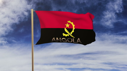 Angola flag with title waving in the wind. Looping sun rises