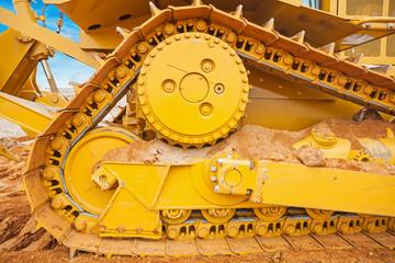 part of bulldozer  track construction concept