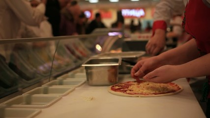 Process of preparing pizza in grocery store. HD. 1920x1080