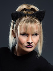 Portrait of a woman-cat
