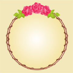 Round frame with roses vector