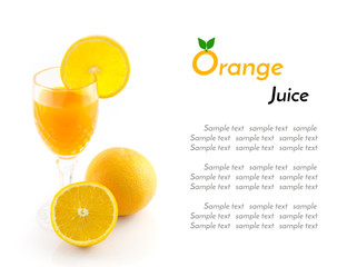 Orange juice and slice isolated on white with sample text