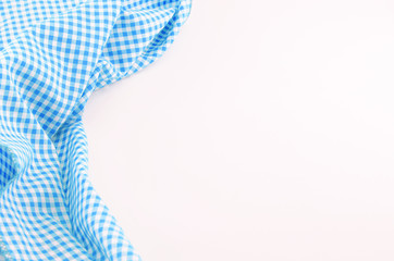Blue Tablecloth textile on white background