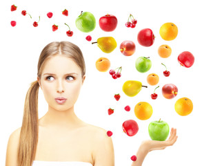 Beautiful young girl with fruits.Concept-natural homemade fruit