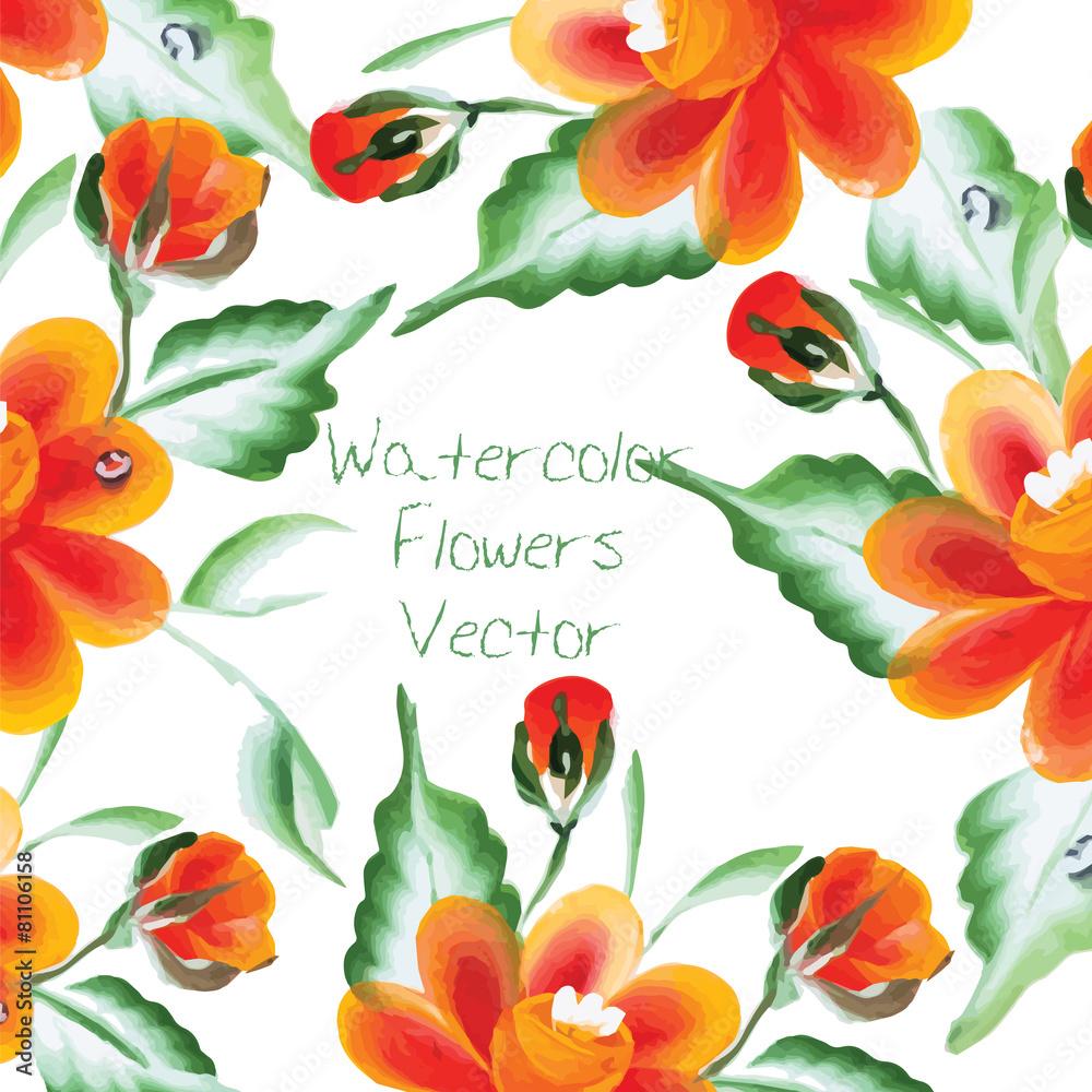 kwiatowy akwarela różowy - powiększenie