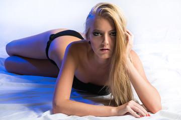 Beautiful blonde in black lingerie