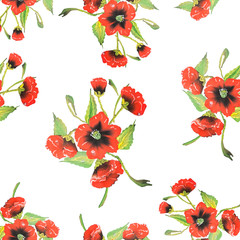 Seamless pattern  Watercolor Vector Flowers.