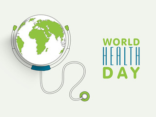 World Health Day concept with globe and stethoscope.