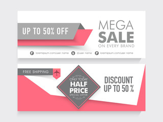 Mega Sale website header or banner set.
