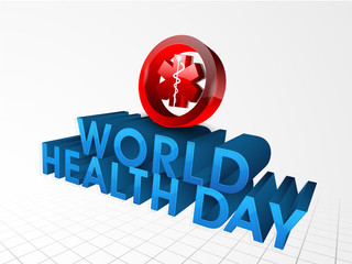 Red medical symbol with 3D text World Health Day.