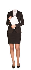 Businesswoman in suit without head, standing and holding