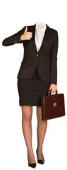 Businesswoman in suit without head, holding briefcase and