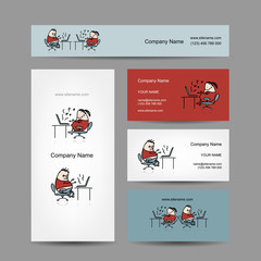 Peoples working at office, business cards for your design
