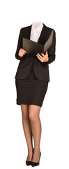 Businesswoman in suit without head, holding open clipboard