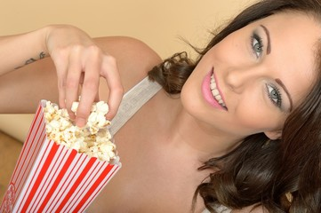 Attractive Beautiful Young Woman Portrait Eating Popcorn