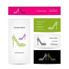 Business cards design, ornate female shoes