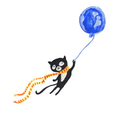 Black cat in red scarf on blue balloon. Gouache illustration
