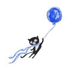 Black cat in blue scarf on blue balloon. Gouache illustration