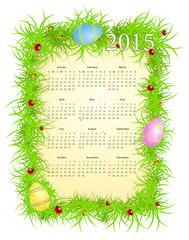 Vector illustration of Easter calendar 2015