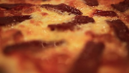 circle hot pizza close up. HD. 1920x1080