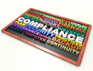 Compliance 3d word concept on blackboard