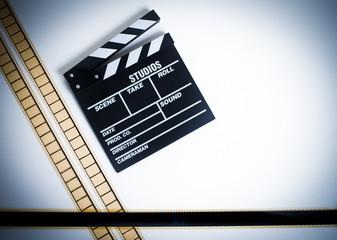 35mm movie filmstrip with clapper board, vintage color, horizont
