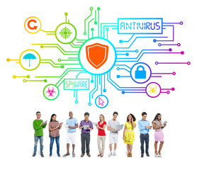 Group People Network Security Concept