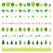 手描き植物 ラインセット / vector eps10