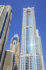 bottom view of the skyscrapers in Dubai Marina