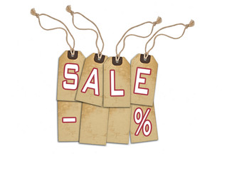Sale concept, formed of textured tags