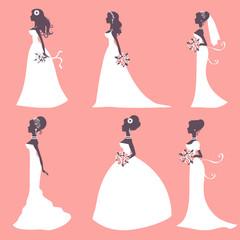 Elegant brides in silhouette