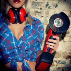 Sexy Girl holding a Bulgarian tool