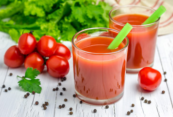 Refreshing glass of tomato juice