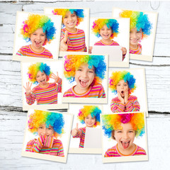 girl in colored wigs
