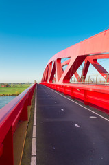 red railroad bridge