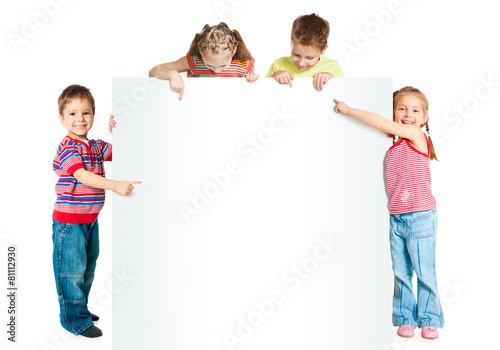 Fototapeta kids with white banner