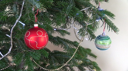 Christmas tree ball toys and decorations. Blinking white garland