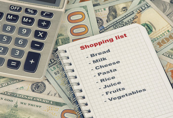 shopping list and money