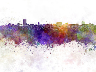 Ann Arbor skyline in watercolor background